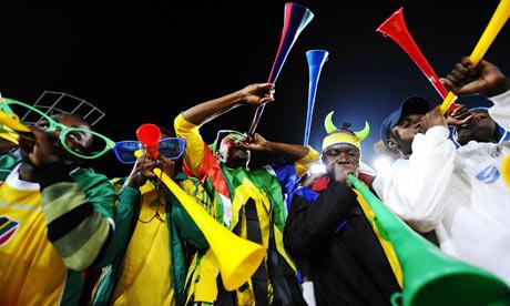 Fans blowing the Vuvuzela