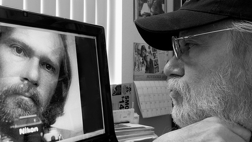 A new Selfie of me looking at a Selfie taken in 1980 from Steven  flickr.com
