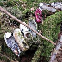 Shoes for a man, a woman and a child left in the Aokigahara Jukai forest on the flank of Mount Fuji.