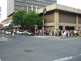 Hundreds of people waiting in line for an extras casting call.