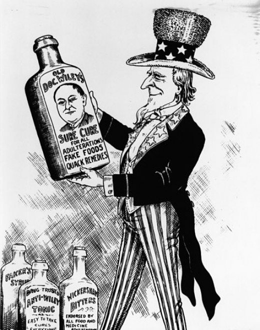 This political cartoon pays homage to Bureau of Chemistry Chief Chemist Harvey Wiley who led the fight to institute a federal law to prohibit adulterated and mis-branded food and drugs, which President Theodore Roosevelt signed in 1906 as the Pure Fo