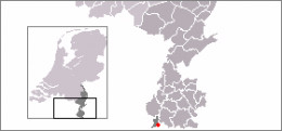 Map location of the village of Mesch, The Netherlands