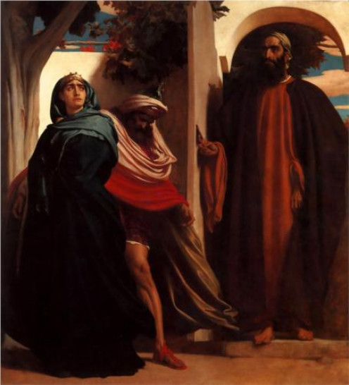 Jezebel and Ahab met by Elijah by Frederic Leighton 1862