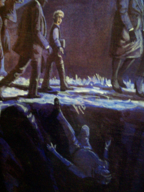 """If you question """"present truth"""" as an SDA, you risk falling off the path to heaven, according to EG White's first vision, which is the subject of a mural at the EGW Estate. This detail from that painting depicts the fate of me, and all former SDAs."""