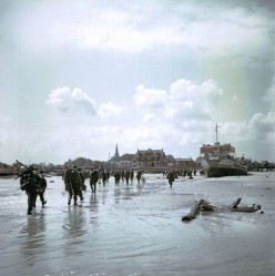 Canadian infantry soldiers disembarking at Juno Beach, June 6, 1944