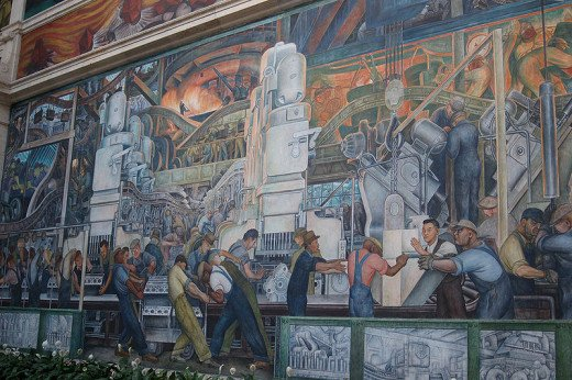 Diego Rivera's mural, Industry of Detroit, north wall in the DAI.