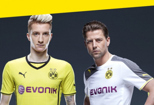 Marco Reus & Roman Weidenfeller promoting the 2013/14 BVB kits