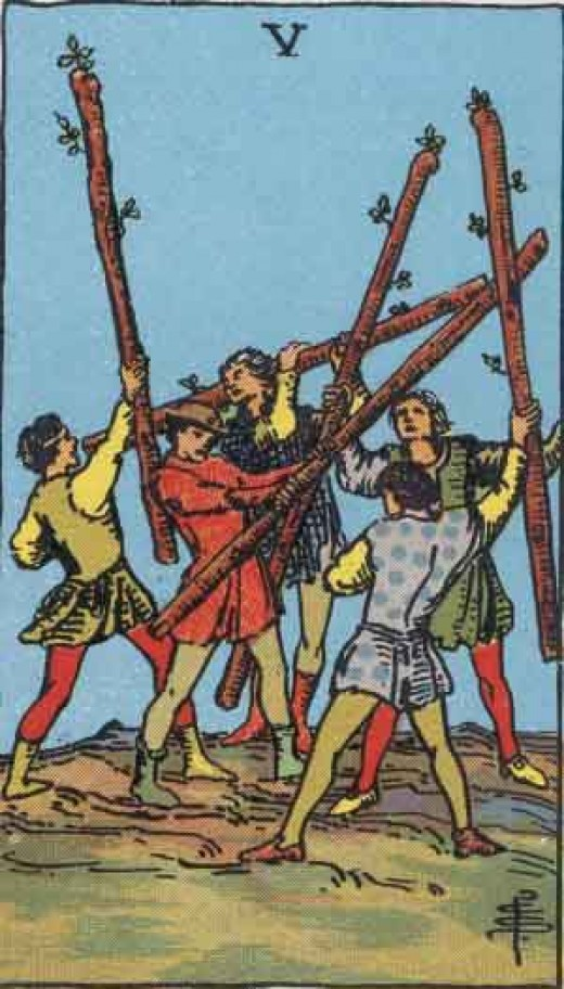 RWS Five  of Wands (Public Domain image)