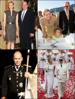 upper: the royal couple of Monaco bottom: enthronement and wedding