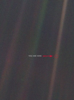"This is the photograph ""Pale Blue Dot"" taken by Voyager 1 that Carl Sagan famously referenced."