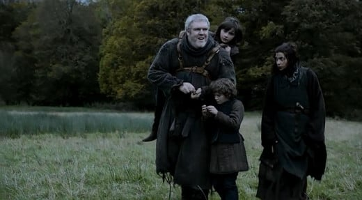 Bran and Rickon escape Winterfell with Osha and Hordor after Prince Theon captures their castle.