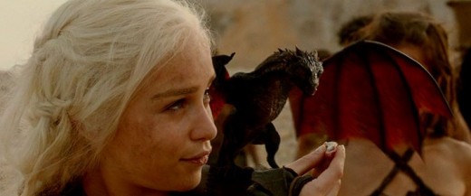 Daenerys Targeryen with her dragons