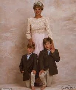 Diana a proud mother with William and Harry.