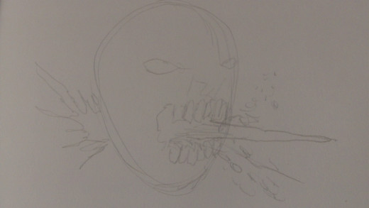 For added effect I have drawn a wooden stake poking out of the Zombies mouth
