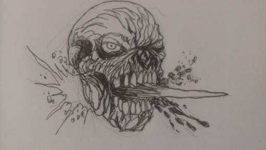 All finished inking the Zombie face