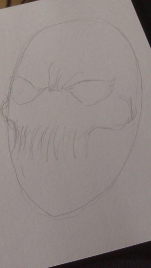 Draw eyes, teeth and cheek bones
