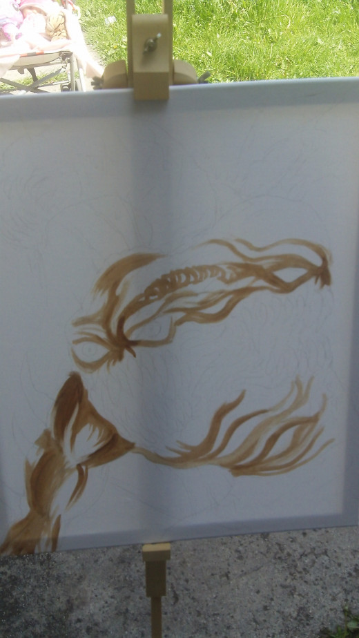 Painting some of the form with Brown acrylic paint