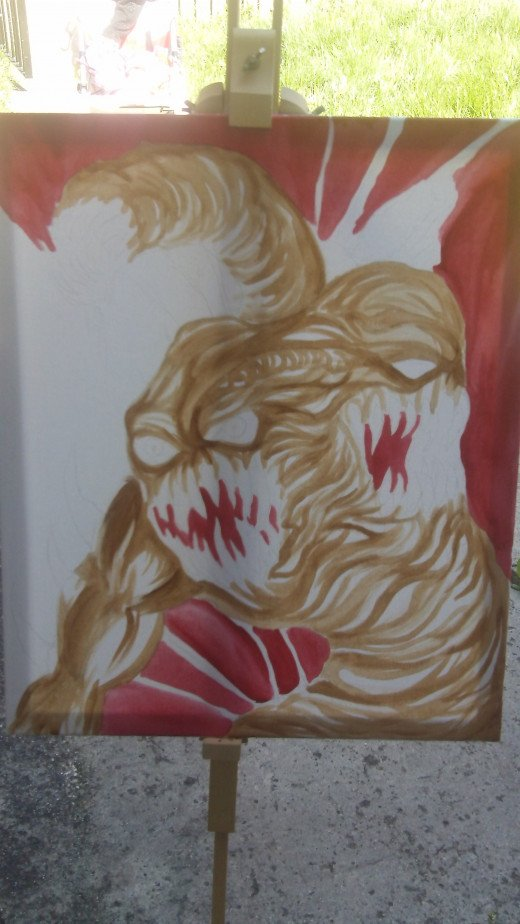 Continuing to paint with the Crimson Red paint the background