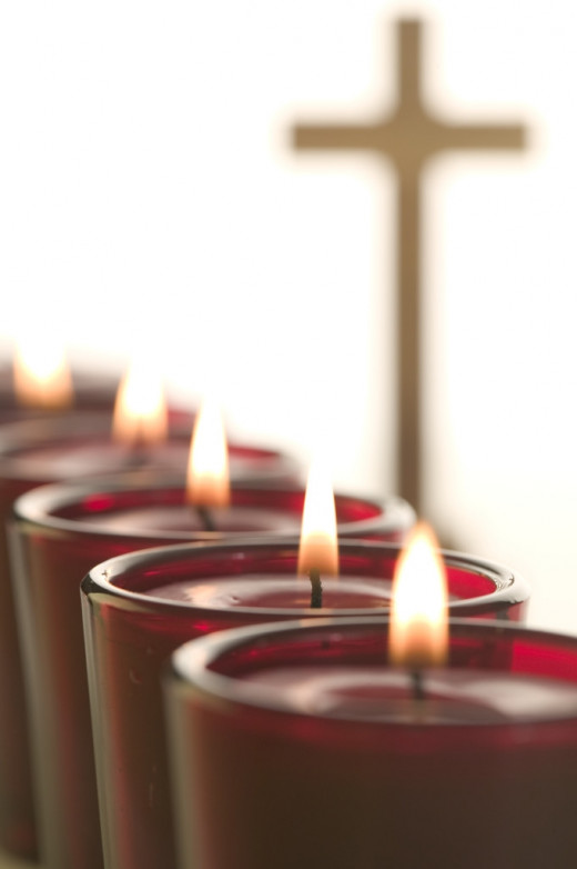 Lighted candles representing spirituality