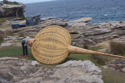 Lillywhite by Roger Rigoth, made from wood, coconut fibre and aluminium pipe.    The central theme of his sculptural objects and installation is the existential question of the sense of being human.  The relationship between the world and us.
