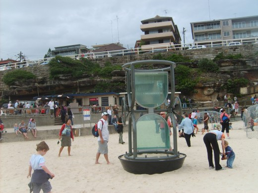 The measure of time by Rae Bolotin made of glass, steel and water.
