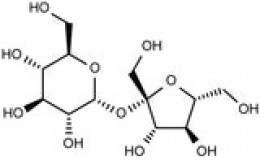 Molecule of sugar made up of atoms of carbon, hydrogen and oxygen. This is the chemical structure of sucrose.