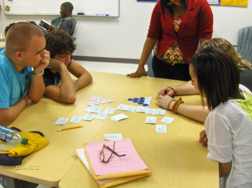 Students sorting words