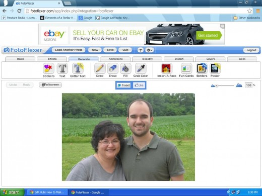 This screen shot shows the photo of my son and I uploaded to the online photo editor.