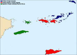 The American Virgin Islands (red), The British Virgin Islands (blue) and Puerto Rico (green) are located on the border of the Caribbean Sea and the Atlantic Ocean.