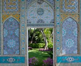 Islamic tiles adorn a wall at Shangri-La
