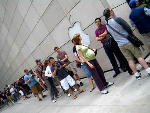 A typical line for an iphone during the first sale days