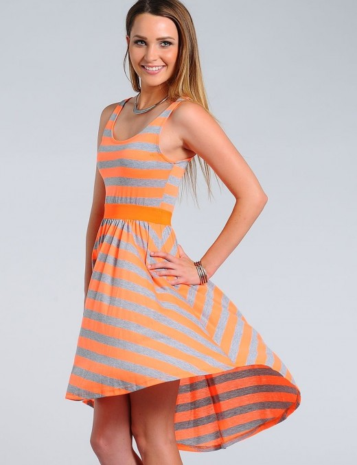A neon do: Cute neon orange and grey dress