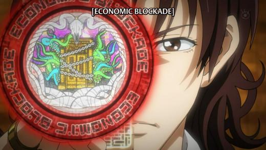 Mikuni using one of Q's strongest moves - Economic Blockade