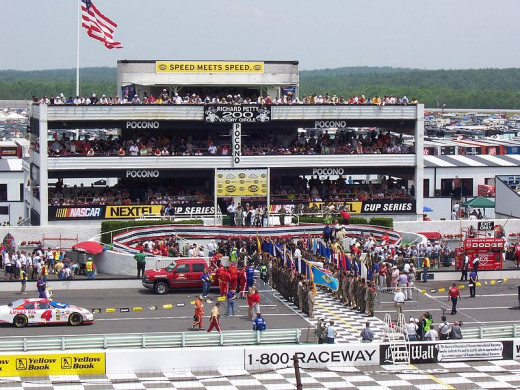 Victory lane at the Pocono Raceway in Long Pond, PA.