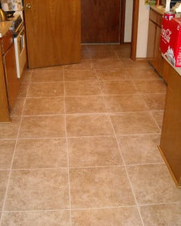 Grout applied to the spaces between the tiles.