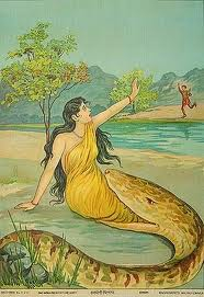 Damayanti, the Abandoned Indian Princess attacked by a Giant Snake