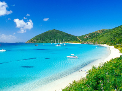 Popular white sand beach in St. Thomas in the U.S. Virgin Islands.