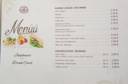 Menu from Maiasmokk Kohvik, a local cafe in Tallinn Estonia