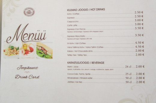 Menu from Maiasmokk Kohvik, a local cafe in Tallinn Estonia