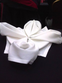 Towel origami-making a Balinese flower from a dinner napkin or bath towel