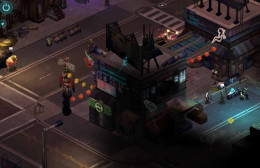 Shadowrun Returns visit the troll merchant at the top of the picture, and then go talk to the officer at the murder site.