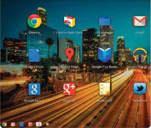 Chrome OS provides you with icons that allow you to quickly bring up your favorite Web apps.