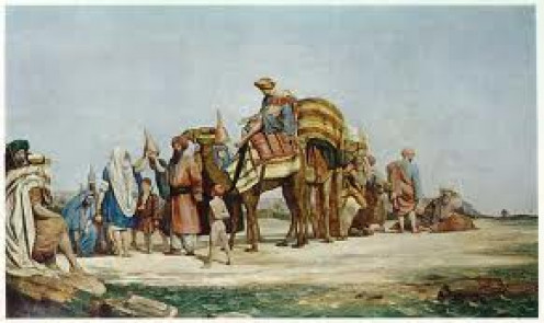 Damayanti joins a Merchant Caravan Heading to the City of Chedi