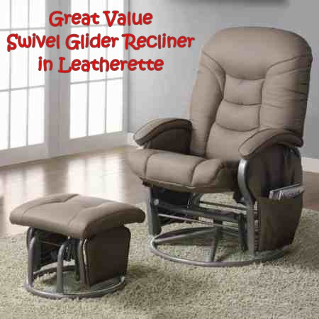 This leatherette-covered swivel glider recliner offers excellent quality and value for money!