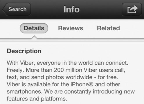 Viber Description Display