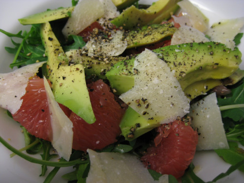 whip up a healthy lunch with the other half of the avocado and add rocket, grapefruit chunks, parmesan shavings, olive oil and cracked pepper.