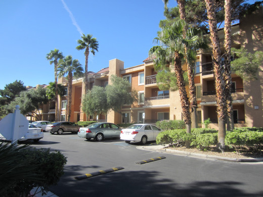 Outside view of condo units at Desert Rose Resort in Las Vegas, Nevada