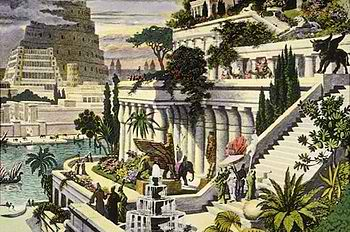 "A portrait depicting the renowned ""Hanging Gardens of Babylon"" – by Dutch artist Maarten van Heemskerck."