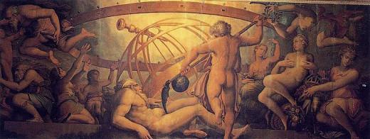 Cronus (Saturn) castrates his father Uranus, the Greek sky god (before Zeus)