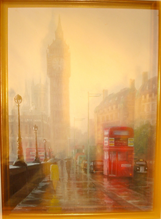 Painting of the Big Ben Tower in Misty Rain